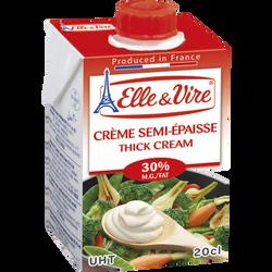 Crème semi-épaisse stérilisée UHT ELLE ET VIRE, 30% de MG, 20cl