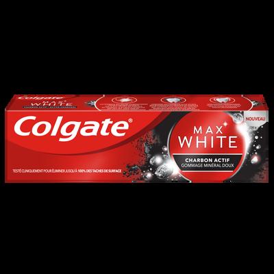 Dentifrice max white charbon actif COLGATE, tube 75ml