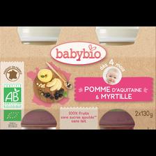Pot pomme myrtille BABYBIO, dès 4 mois, 2x130g