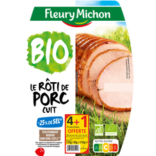Fleury Michon Rôti De Porc Supérieur Bio -25%sel , 4 Tranches + 1 Offerte Soit 150g
