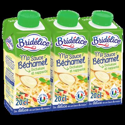 Sauce Béchamel stérilisée UHT BRIDELICE, 3 bricks de 20cl