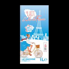Lait UHT 1/2 écrémé ILE DE FRANCE, brique 6x1l