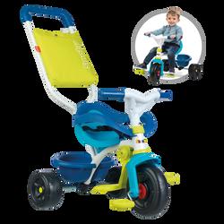 Tricycle SMOBY be fun bleu-de 10 mois à 3 ans-benne basculante-cadre métal-repose pieds rétractable-arceau-ceinture de sécurité