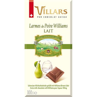 """Chocolat au lait à la liqueur """"Larmes de poire williams"""", VILLARS, tablette de 100g"""