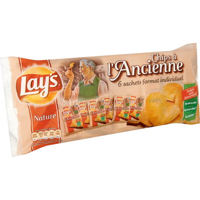 Chips à l'ancienne LAY'S, paquet de 6x27,5g