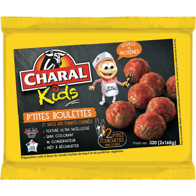 P'tites boulettes sauce aux tomates cuisinées, CHARAL, France, barquette, 320g