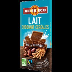 Chocolat lait croquant céréales bio ALTER ECO, tablette de 100g