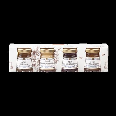 Assortiment verrines de miel (Acacia, Montagne, Chataignier, Fleurs printanières) RUCHERS DE BOURGOGNE, 4x50g