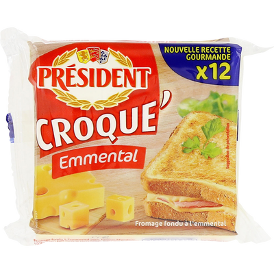 Fromage fondu au lait pasteurisé Croque'Emmental, 18%MG, PRESIDENT,12 tranchettes, 200g