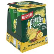 Perrier Eau Minérale Naturelle Gazeuse Au Jus D'ananas Et Mangue Perrier, 4 Canettes De 25cl