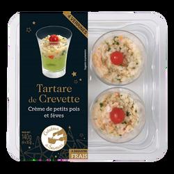 Verrine tartare crevette crème petits pois fèves, BIGARD, 4 pièces, 140g