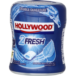 Chewing gums sans sucre menthe forte-menthe fraîche 2Fresh HOLLYWOOD,40 dragées, 88g
