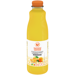 Pur jus d'orange sans pulpe U, bouteille en plastique de 1,5l