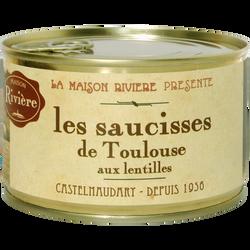 Saucisses de toulouse aux lentilles MAISON RIVIERE, 1/2, boîte de 420g