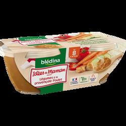 Bols pour bébé dès 8 mois légumes à la Provençale et poulet LES IDEESDE MAMAN BLEDINA, 2x200g