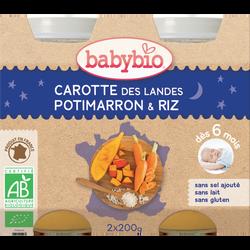 Pot  carotte potimarron riz BABYBIO, dès 6 mois, 2x200g