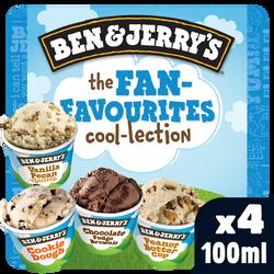 Glace fan favourities cool BEN & JERRY'S,  x4 soit 292g