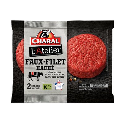 Haché de faux filet, CHARAL,France, 2 pièces, étui fraicheur, 260g
