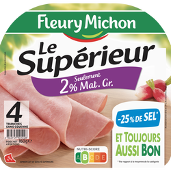Jambon supérieur 2% de matiere grasse sans couenne -25% de sel FLEURYMICHON 4 tranches 160g