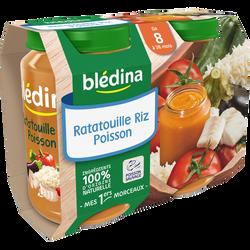 Petits pots pour bébé de ratatouille riz colin (lieu) BLEDINA, dès 8 mois, 2x200g
