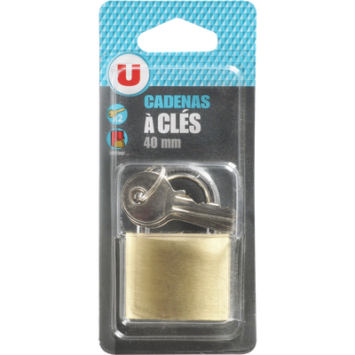 Cadenas en laiton U avec 2 clés, 40mm, sous blister