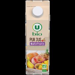 Pur jus multifruits flash pasteurisé U BIO, bouteille de 1l