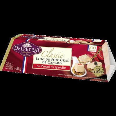 Bloc de foie gras de canard piment espelette DELPEYRAT, 110g