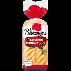 Baguettes viennoises nature fendues LA BOULANGÈRE, x4 soit 340g