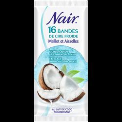 Cire froide pour le maillot et les aisselles parfum coco NAIR, 16 doubles bandes