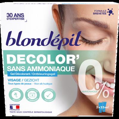 Gel décolorant visage sans amoniaque BLONDEPIL, 2x25ml soit 50ml