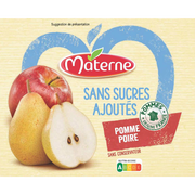 Materne Dessert Fruits Pomme Poire Sans Sucre Ajouté Materne, 4x100g
