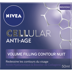 Cellular anti âge volume filling contour nuit NIVEA visage, pot de 50ml
