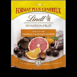 """Bouchées de chocolat noir et à l""""orange et au pamplemousse rose sensation fruit LINDT, sachet de 160g"""