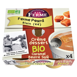 Crème dessert caramel beurre salé bio FERME PEARD 4x125g
