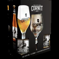 Coffret bière blonde CORNET Oaked 8,5° ble de 4x33cl+1verre
