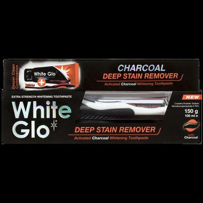 Dentifrice blanchissant et brosse à dents formule charbon actif WHITEGLO, tube de 100ml