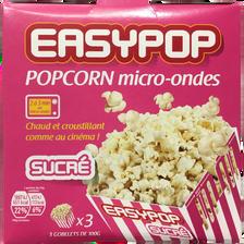 Pop-corn sucré micro ondable, sachet 3 x 100g