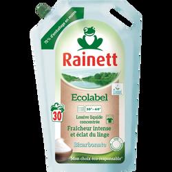 Lessive liquide concentrée ecolabel fraîcheur intense bicarbonate RAINETT, 30 lavages soit 1,98l