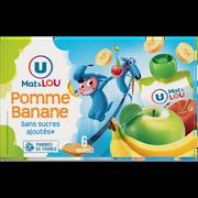 Lou Gourdes Pomme-banane Sans Sucre Ajouté U Mat & Lou, 6x90g