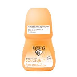 Déodorant soin douceur sauge & huile abricot LE PETIT MARSEILLAIS, bille de 50ml