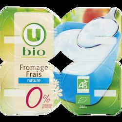 Fromage frais nature au lait pasteurisé U BIO, 0% de MG,  pack de 400g