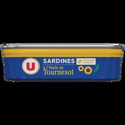 Sardines à l'huile de tournesol U, boîte de 135g