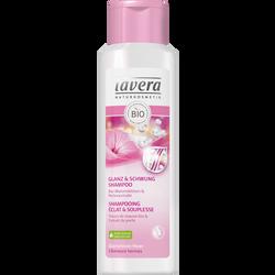 Shampoing éclat et souplesse aux fleurs de mauve bio et extrait de perle pour cheveux ternes LAVERA, flacon de 250ml