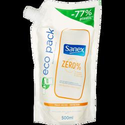 Gel douche et bain peaux sèches Zéro % SANEX, recharge de 500ml