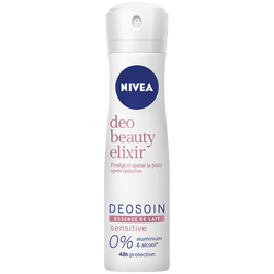 Déodorant pour femme elixir sensitive essence de lait 0% aluminium etalcool NIVEA, spray de 150ml