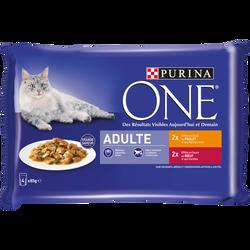 Sachets fraîcheur pour chat adulte émincés de poulet et de b uf PURINAONE, 4x85g