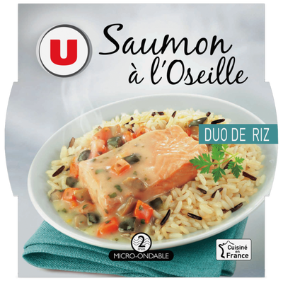 Saumon à l'oseille et duo de riz U, barquette micro-ondable de 300g