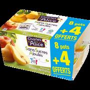Charles & Alice Desserts Aux Fruits Pomme/poire Sans Sucre Ajouté Charles & Alice8x100g + 4 Offerts