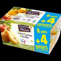 Desserts aux fruits pomme/poire sans sucre ajouté CHARLES & ALICE8x100g + 4 offerts