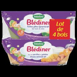BLEDINER bols petites pâtes épinards lait x2/duo de carottes et patates douce semoule lait x2 dès 8mois Blédina 4x200g